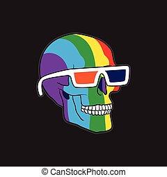 color, cráneo, en, anteojos de 3d