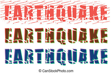 color cracked earthquake word on white background