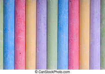 Color crayons in line - Color crayons arranged in line macro