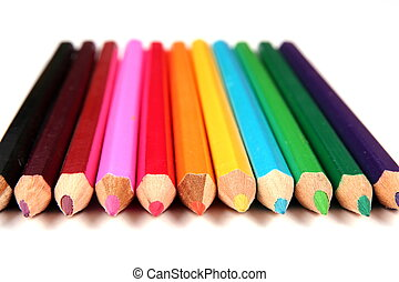 Color crayons (pencils) isolated on white background