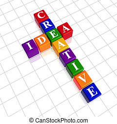 3d colour cubes with white letters like crossword with text - creative idea