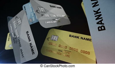 Credit cards hang in the air - Color Credit cards hang in...