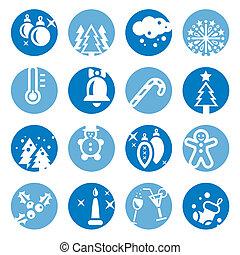 color cristmas icons set