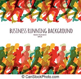 Color crowd people business run carrier background.