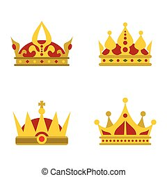Color crown icons on white background