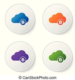Color Cryptocurrency cloud mining icon isolated on white background. Blockchain technology, bitcoin, digital money market, cryptocoin wallet. Set icons in circle buttons. Vector Illustration