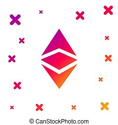 Color Cryptocurrency coin Ethereum classic ETC icon isolated on white background. Physical bit coin. Digital currency. Altcoin symbol. Blockchain based secure cryptocurrency. Vector Illustration