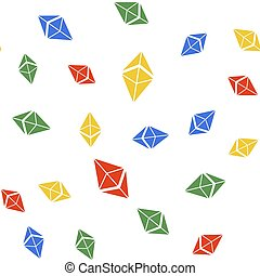 Color Cryptocurrency coin Ethereum ETH icon isolated seamless pattern on white background. Digital currency. Altcoin symbol. Blockchain based secure crypto currency. Vector.