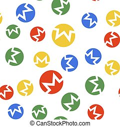 Color Cryptocurrency coin Monero XMR icon isolated seamless pattern on white background. Digital currency. Altcoin symbol. Blockchain based secure crypto currency. Vector.