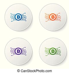 Color Cryptocurrency concept bitcoin in circle with microchip circuit icon isolated on white background. Blockchain technology, digital money market. Set icons in circle buttons. Vector Illustration
