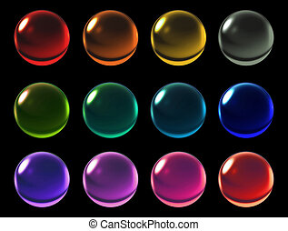 color crystal ball with clipping path