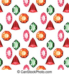 Color crystals, diamond shapes, polygon stones seamless pattern vector illustration