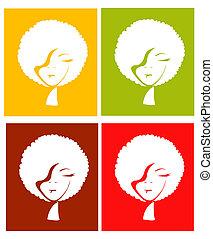 color, cuatro, diferente, afro, niña