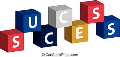 Color cube with text success isolated on white background.