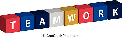 Color cube with text teamwork isolated on white background.