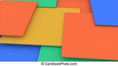 Color cubes. Abstract 3d rendering of rotating vivid shape. Cgi loop animation. Modern colorful background. Seamless motion design for poster, cover, branding, banner, placard.