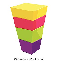 Color cubes stacked icon, cartoon style