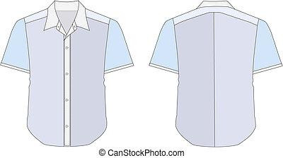 color, cuello, camisa azul, vestido