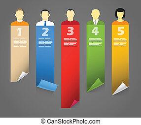 color, cuenta, avatars, con, doblando, papel, banners.,...