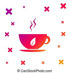 Color Cup of tea and leaf icon isolated on white background. Gradient random dynamic shapes. Vector Illustration