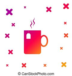 Color Cup of tea with tea bag icon isolated on white background. Gradient random dynamic shapes. Vector Illustration