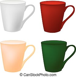 Color cup on a white background