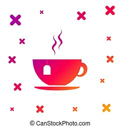 Color Cup with tea bag icon isolated on white background. Gradient random dynamic shapes. Vector Illustration