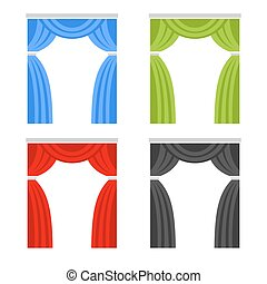 Color Curtain Set. Window Cover Blind on White Background. Vector