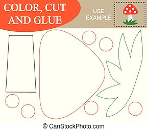 Color, cut and glue to create the image of mushroom (fly ...