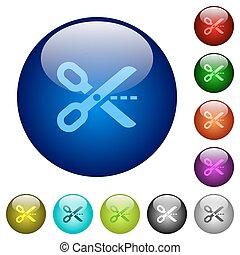 Color cut out glass buttons