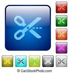 Color cut out square buttons