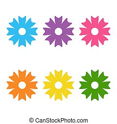 Color cute flower icon vector illustration on white background design logo cartoon