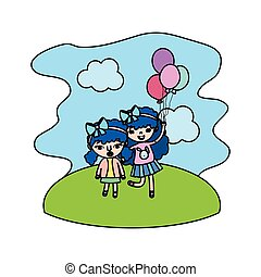 color cute girls children with balloons in the landscape
