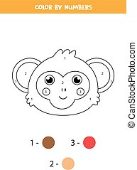 Color cute monkey face by numbers. Worksheet for kids.