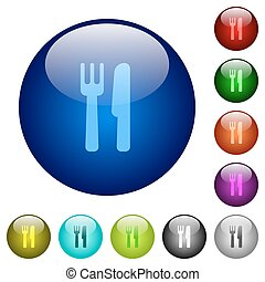 Color cutlery glass buttons