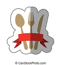 color cutlery with ribbon icon