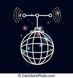 color dark blue background with brightness of silhouette global grid map with antenna