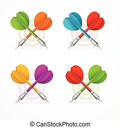 Color Darts Set. Vector