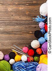 color, de lana, clews