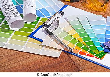 color, de madera, paletas, tabla