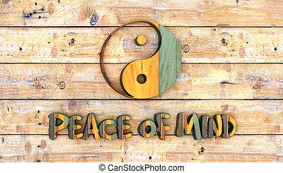 color, de madera, yin, tabla, yang