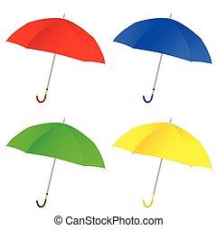 color de paraguas, vector, ilustración