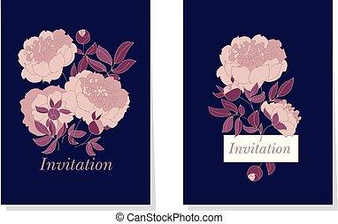 color de rose, peonía, flor, en, fondo negro, vector,...