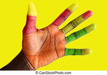 color, dedos