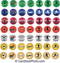 color del fútbol, botones