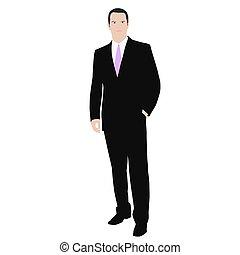 color del negocio, aislado, vector, traje, dibujo, man., ...