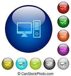 Color desktop computer glass buttons
