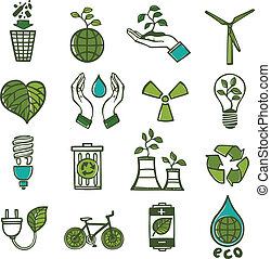 color, desperdicio, ecología, conjunto, iconos
