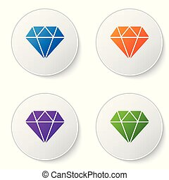 Color Diamond sign isolated on white background. Jewelry symbol. Gem stone. Set color icon in circle buttons. Vector Illustration
