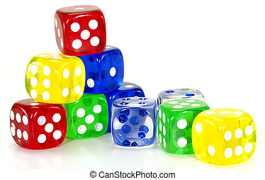 Color Dice - Photo of Various Color Dice - Gambling Related
